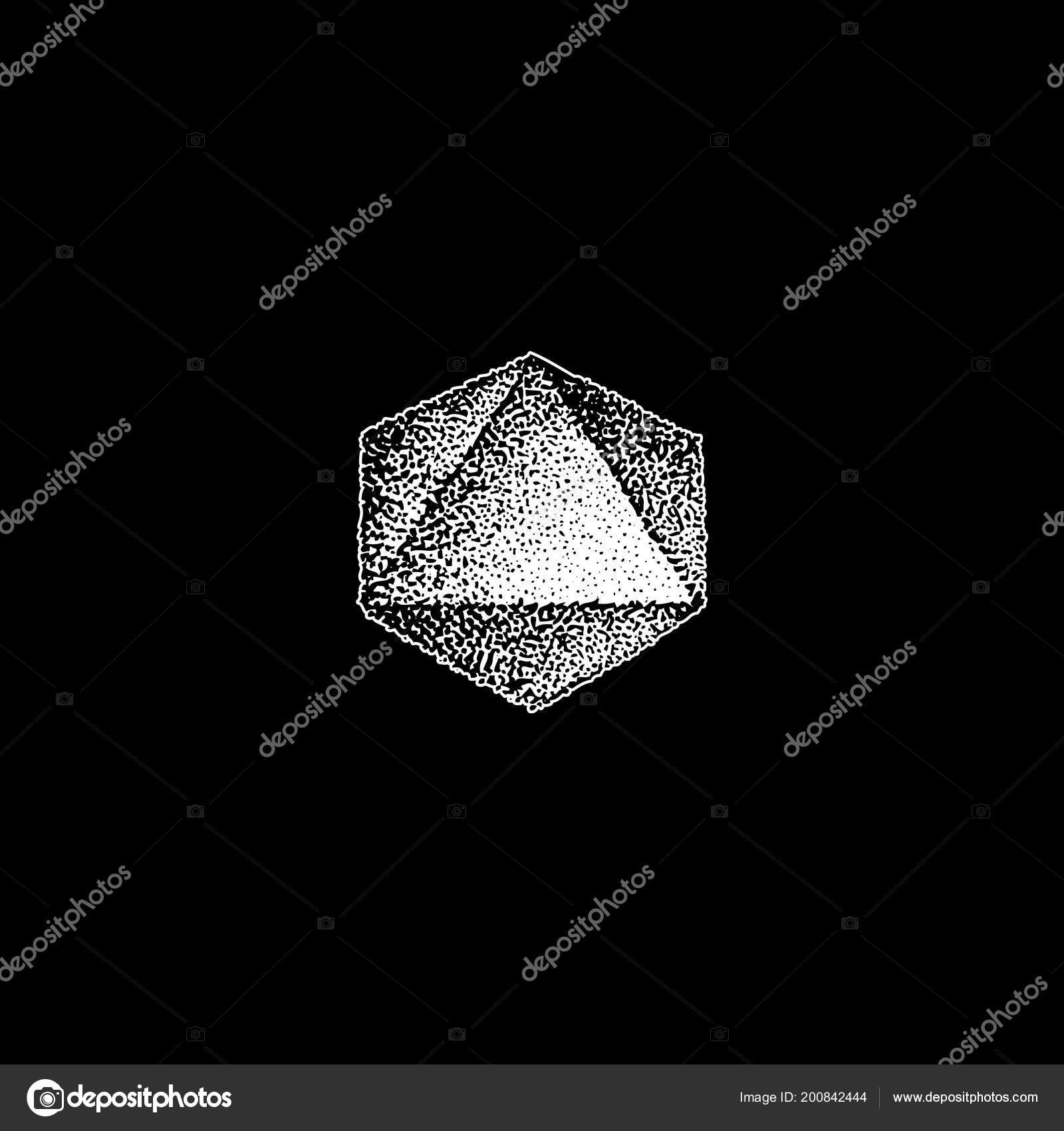 Vector Monochrome White Retro Dot Art Hand Drawn Octahedron Geometric
