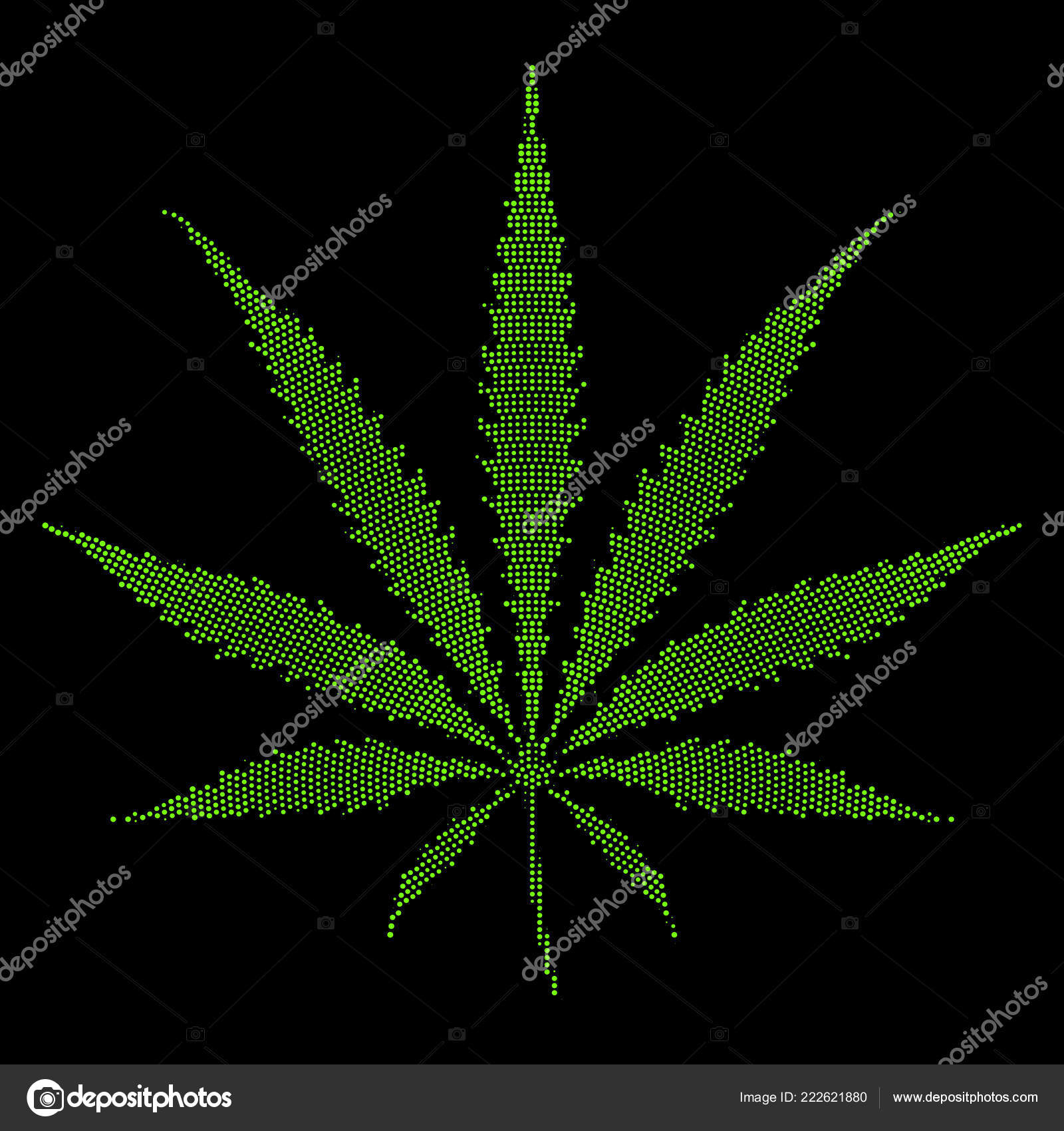 Vector Pixels Demi Teinte Style Couleur Verte Marijuana