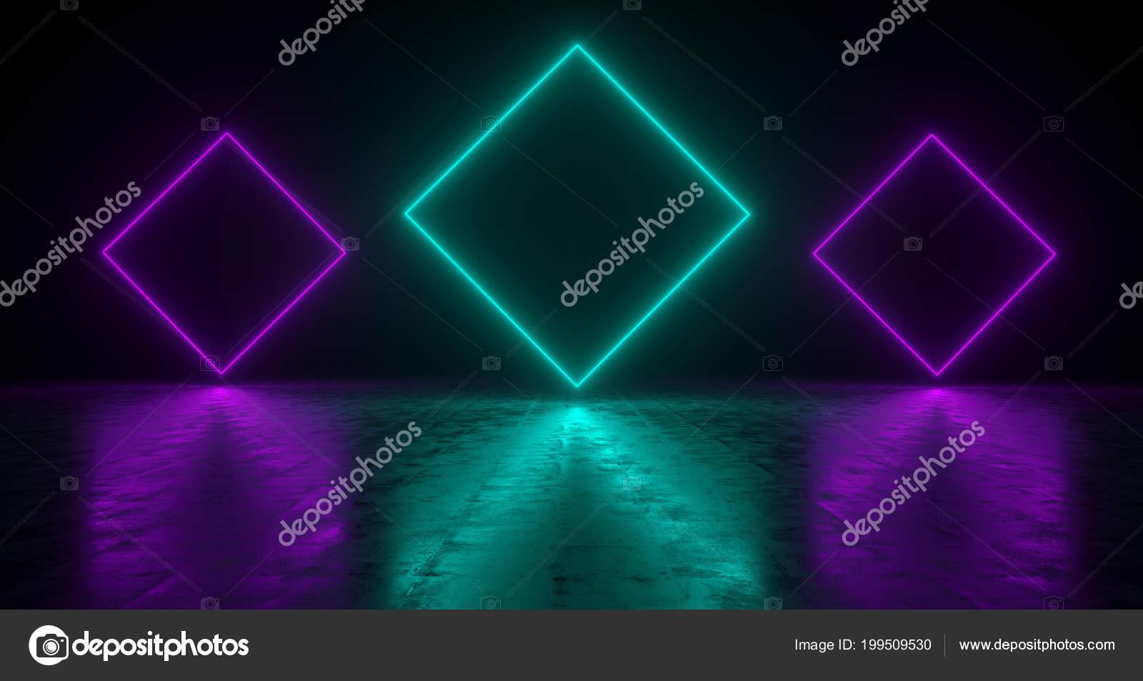 Rettangolo blu forma luci neon con riflessioni sul pavimento