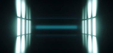 Futuristic Sci Fi Empty Dark Room With Reflection And Glowing Lights On The Sides Empty Space For Text 3D Rendering Illustration