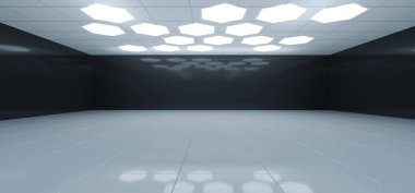 Futuristic Interior Black And White Room With Hexagon Shaped White Lights On The Ceiling With Empty Space Wall 3D Rendering Illustration