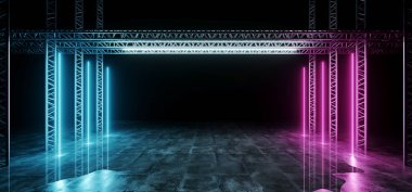 Sci-FI Futuristic Modern Dark Stage Structure On Concrete Wet Floor With Purple And Blue Glowing Neon Tube Lights Empty Space Wallpaper Background 3D Rendering Illustration