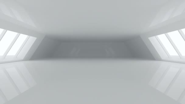 Futuristické zářivě bílé velké Sci-Fi chodby místnost s odrazy a velký bílý zářící okna a prázdný prostor 3d vykreslování animací