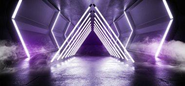Smoke Fog Futuristic Sci FI Alien Spaceship Triangle Neon Laser