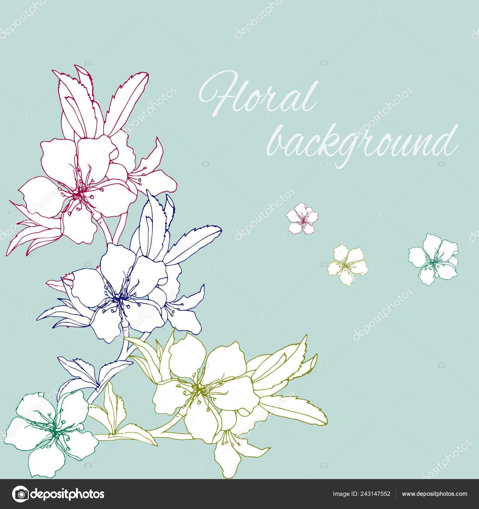 Hand Drawn Flowers Spring Contour Flowers Decoration Festivities Paper Vector — Stock Vector