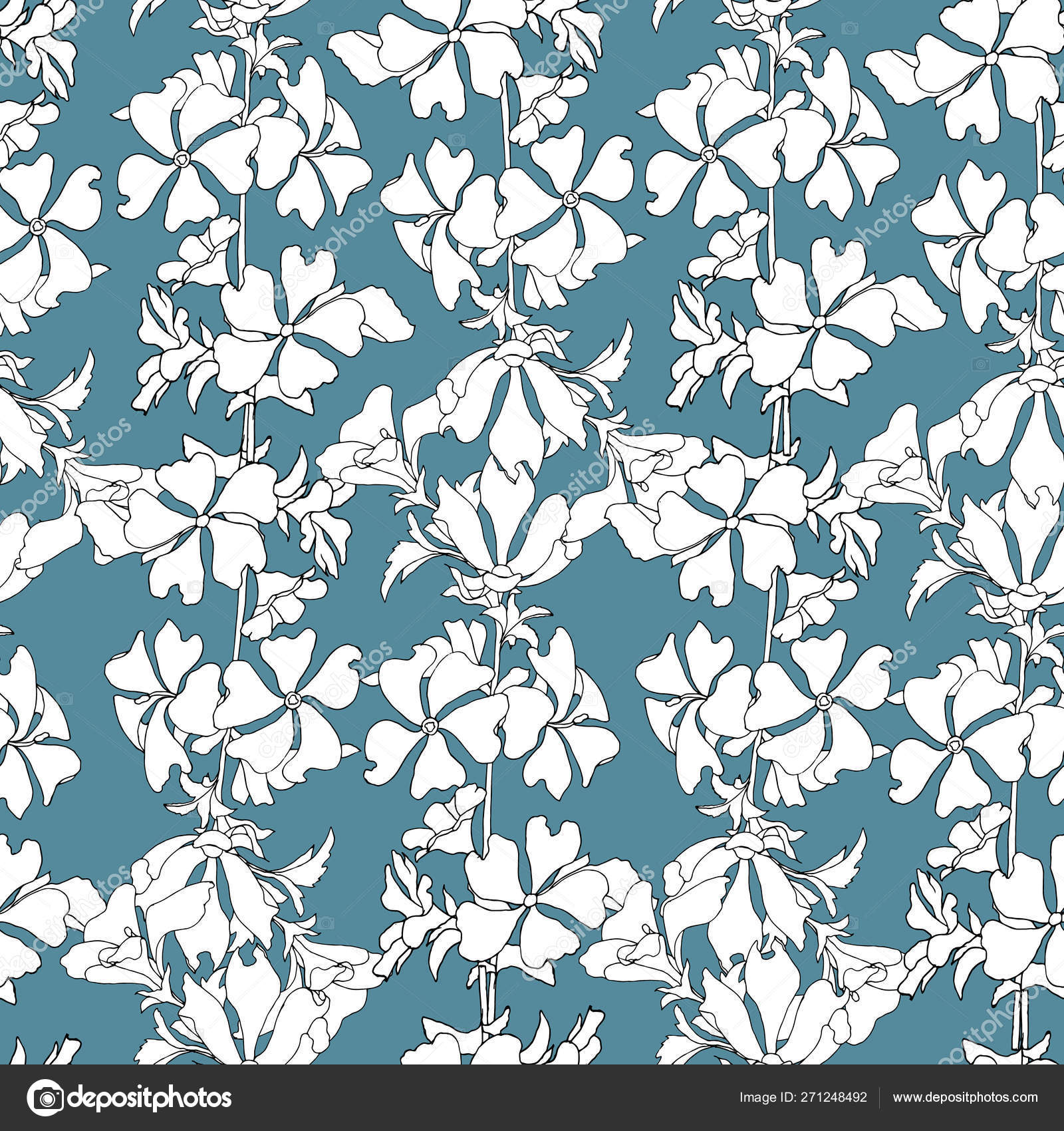 Simple Floral Background With White Flowers On A Blue Background