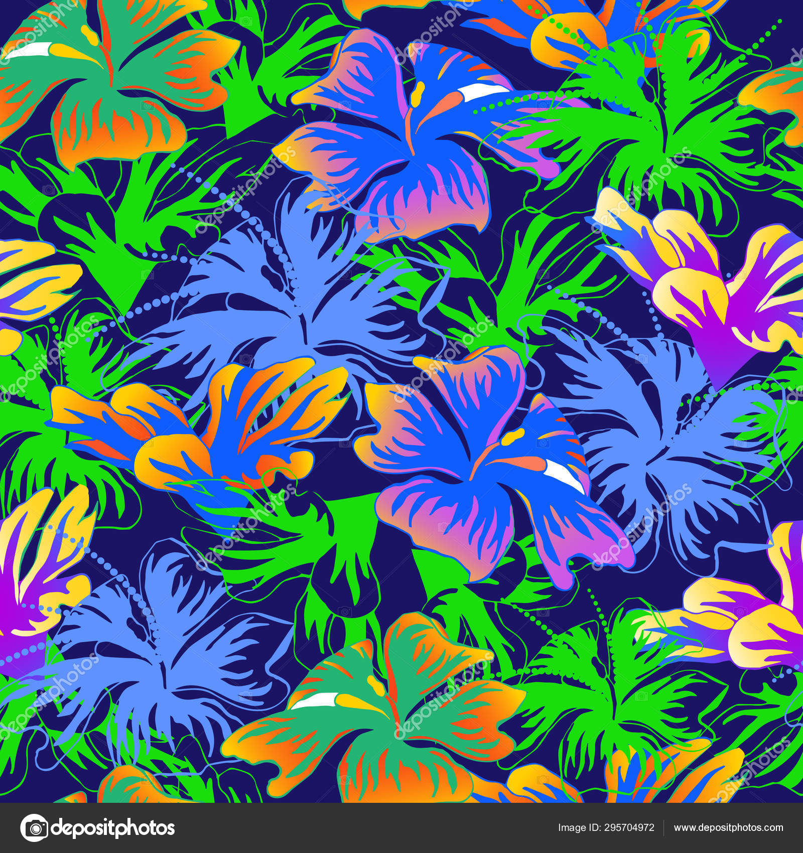Seamless pattern with bright flowers on a blue background