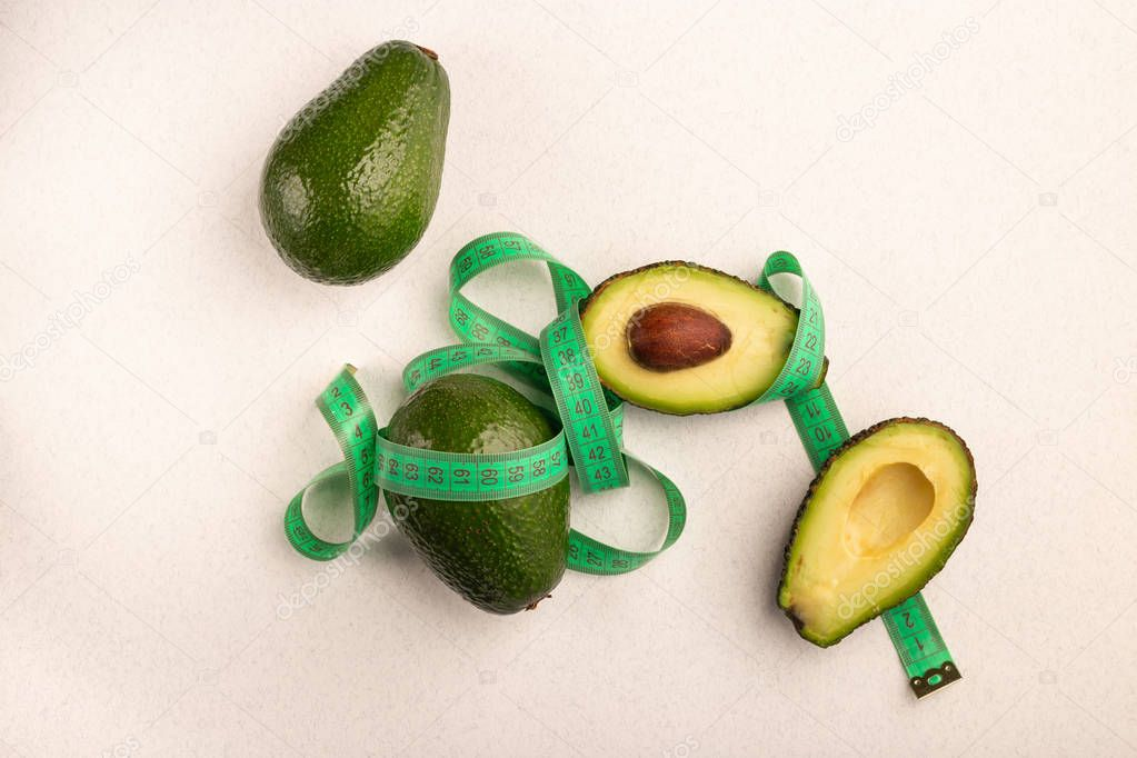Cut and whole avocado with meter weght loss