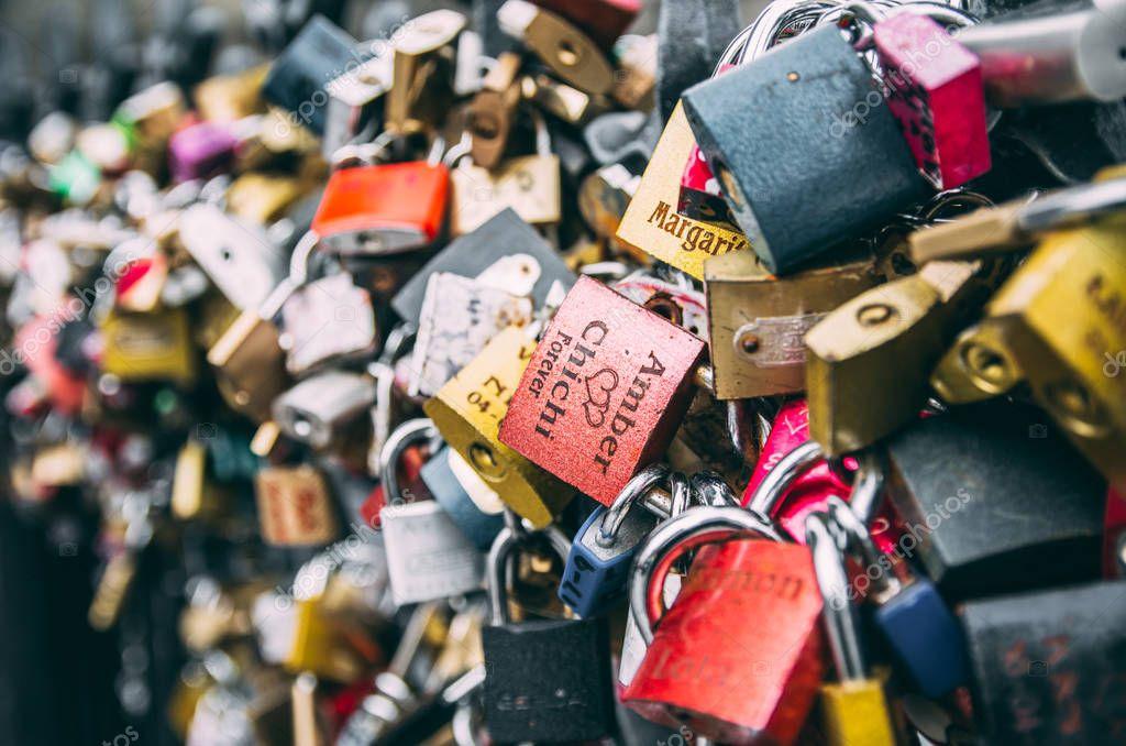 Love and marriage padlocks on Prague bridge