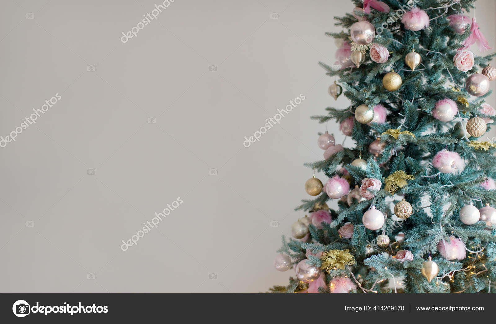 Christmas Banner Christmas Tree Christmas Tree Lights Pink Golden Decorations Stock Photo C Oksana Nazarchuk 414269170