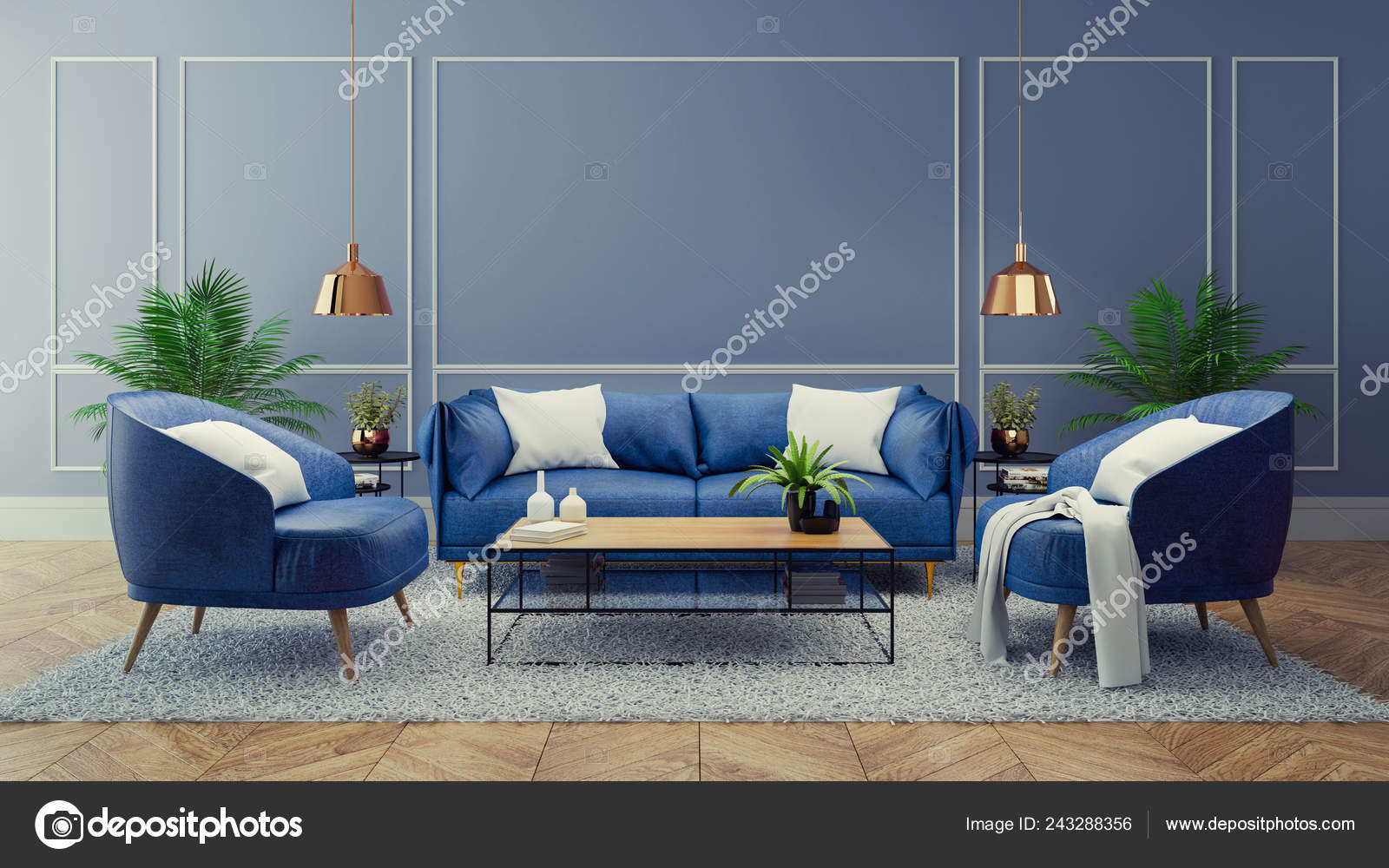 Luxury Modern Interior Living Room Blue Room Decor Concept Blue Stock Photo Image By Leksuperphototwo Gmail Com 243288356