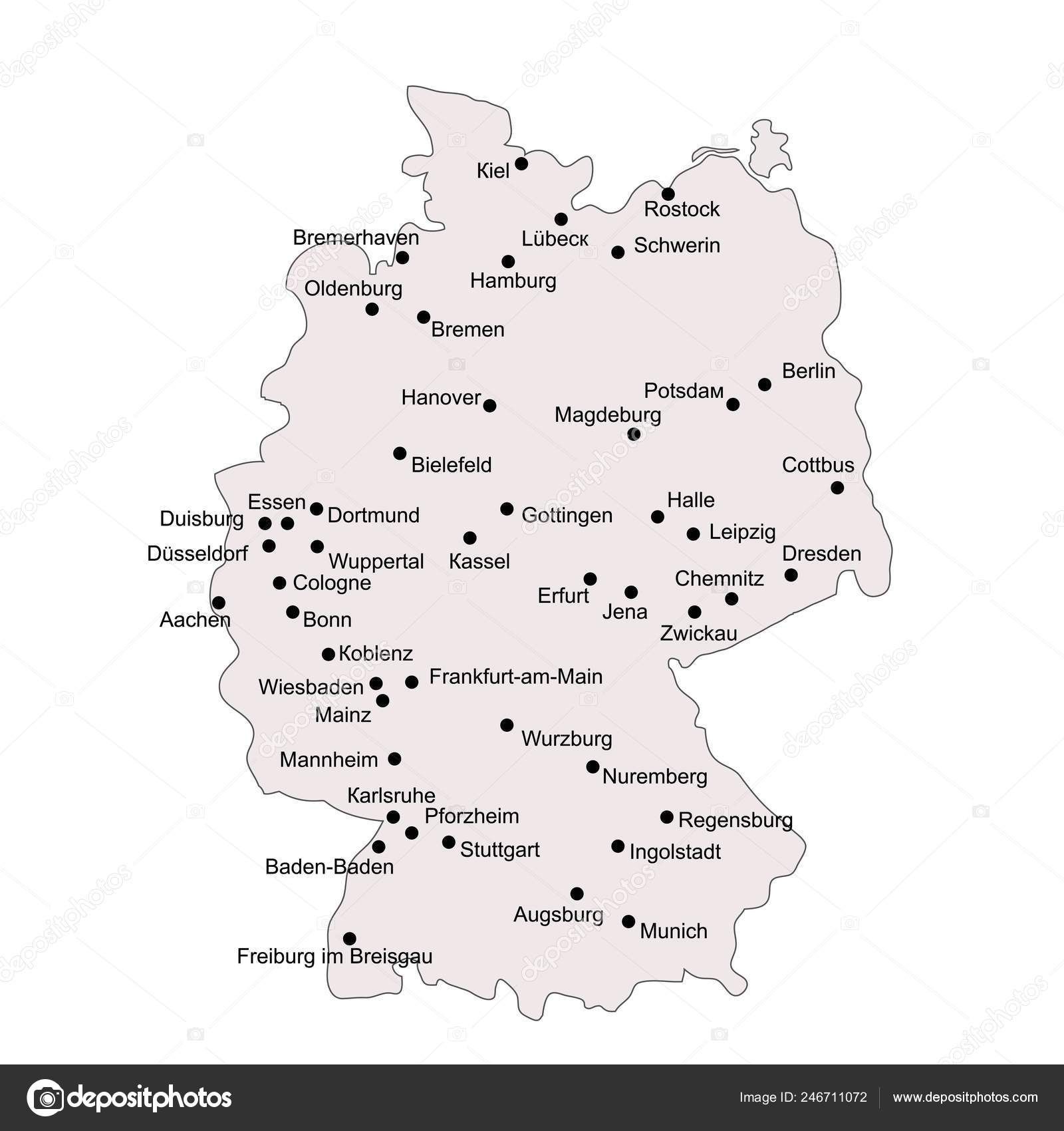 Map Of Germany Showing Major Cities.Germany Outline Map Stroke Isolated White Background Major Cities