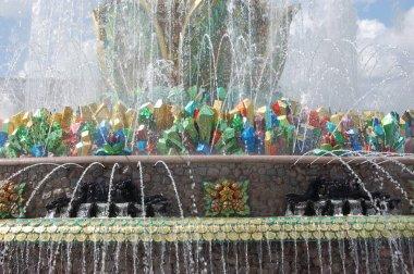 Moscow, Russia 07/09/2019 Stone flower fountain fragment in  Vystavka Dostizheniy Narodnogo Khozyaystva