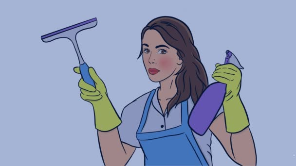 samice čističe myje okno pomocí stříkací pistole a štětcem s houbovým videem v barvě