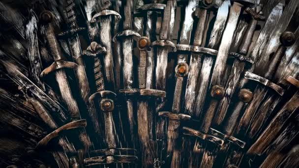 Metall Ritter Schwerter Hintergrund. Nahaufnahme. das Konzept Ritter.