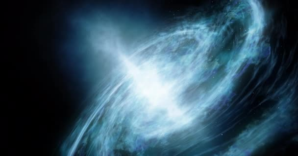 A spiral galaxy moves around Abstract space background Star space, the formation of stars and planets Deep space footage Particles glowing background Dramatic scene of space 4k video render animation