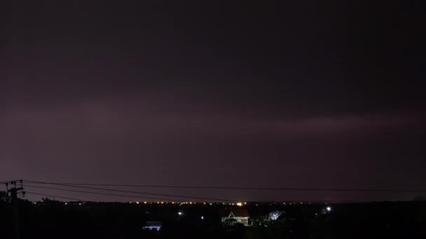 Thunderstorm landscape with lightning over the suburban area 4k timelapse