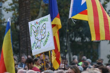 Barcelona, Catalonia, Spain, October 10, 2017: people on rally support for independence of Catalunya in Passeig Lluis Companys.