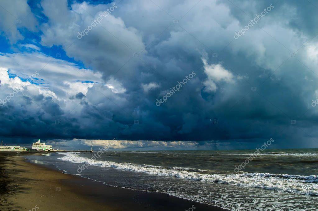 Dramatic sky abnove sea near Rome, Italy
