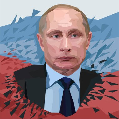 Vector Vladimir Putin, president of Russia polygonal portrait illustration on white background