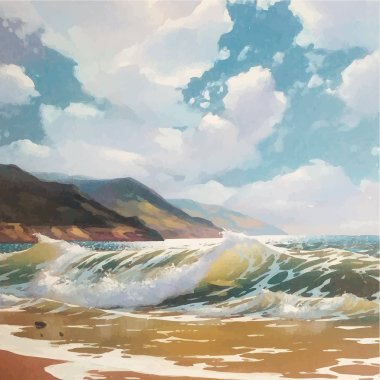 Original vector oil painting of sea and beach on canvas. Rich golden Sun over sea. Modern Realism and Impressionism. Black Sea coast near Yalta.