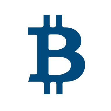 Vector illustration concept of Bitcoin crypto coin symbol. Black on white background