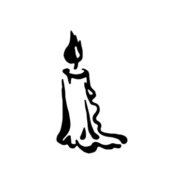 Vector hand drawn Witch and magic item candle  illustration on white background.