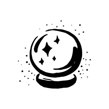 Vector hand drawn Witch and magic item crystal ball illustration on white background.