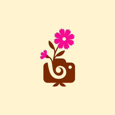 Vector illustration concept of photography camera logo icon template with flower