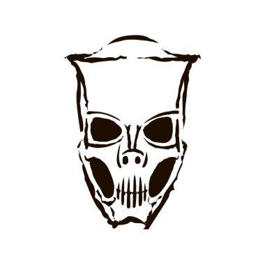 Vector hand drawn black color Carnaval festival mask on white background