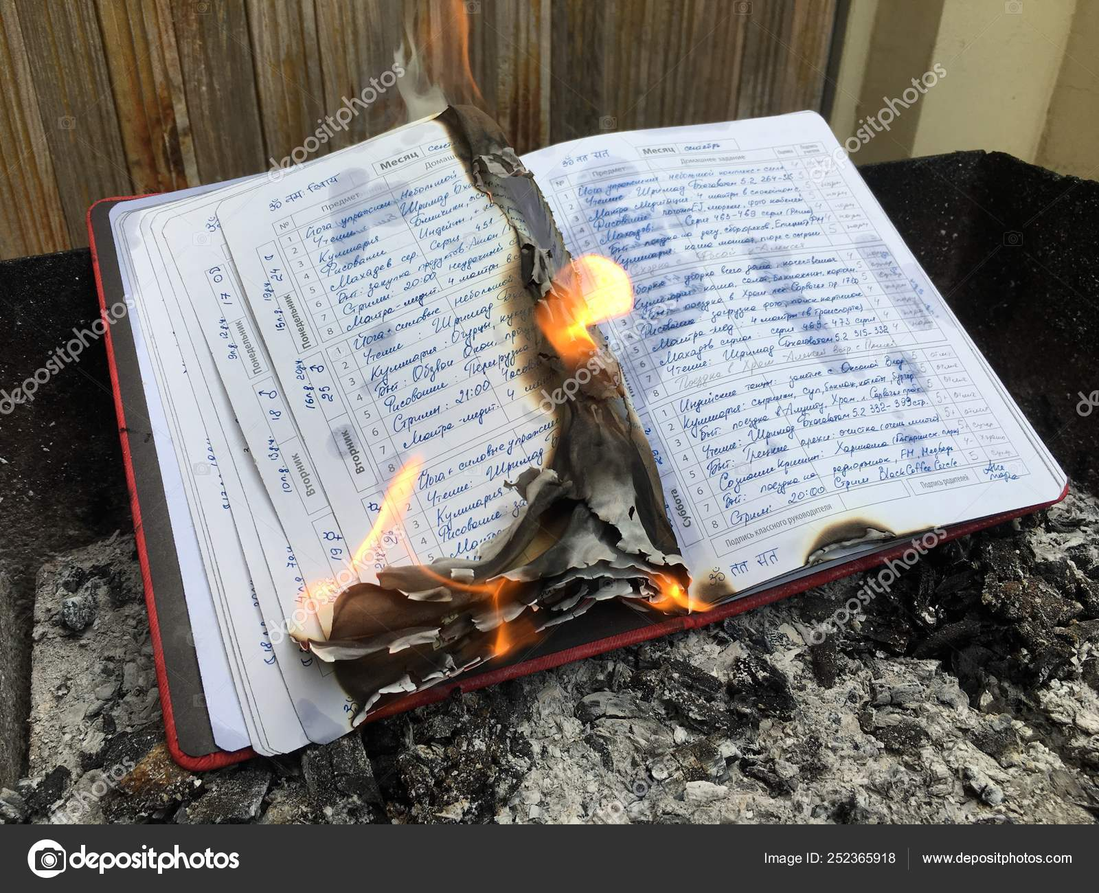 School diary with daily hand written note burning in fire flame ⬇ Stock  Photo, Image by © ArthaDesignStudio #252365918