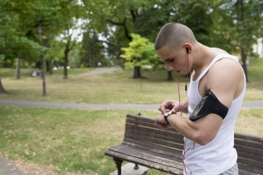 young man exercising in park
