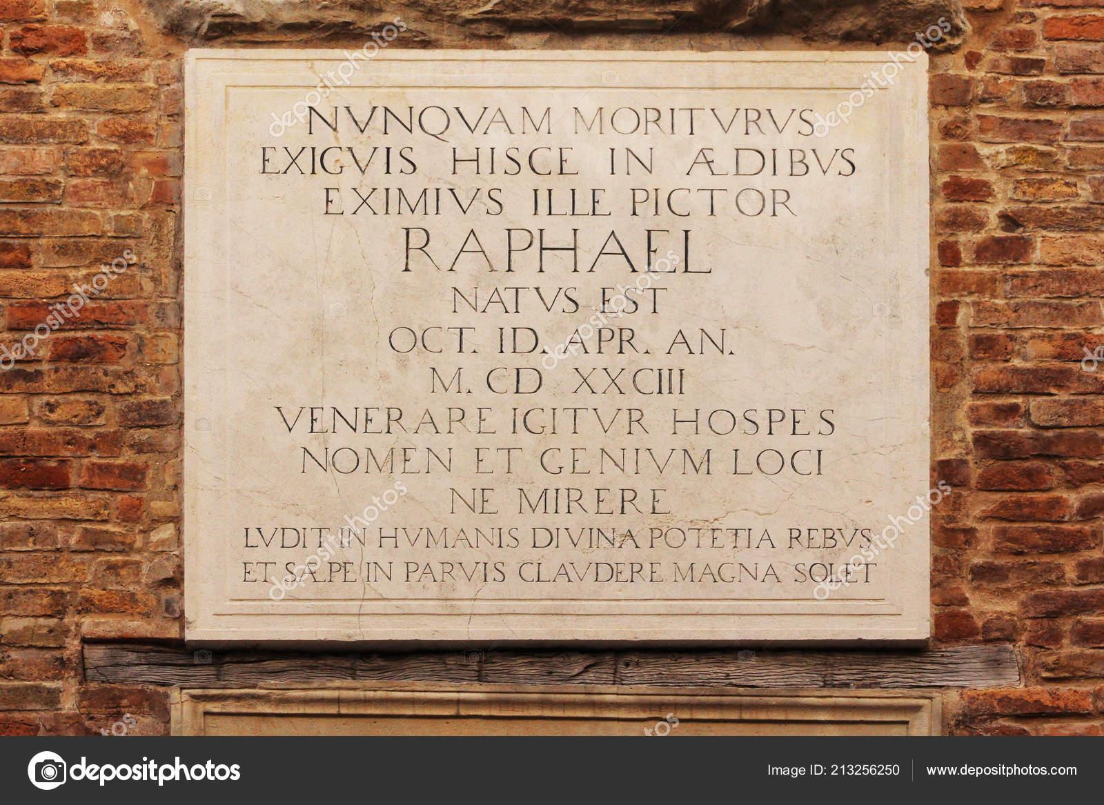 Raffaello Straße Marmorplatte Auf Kosten Des Hauses Von Raffaello ...
