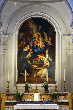 Urbino, Italy, St. Domenico church paint detail, ancient and historical medieval city