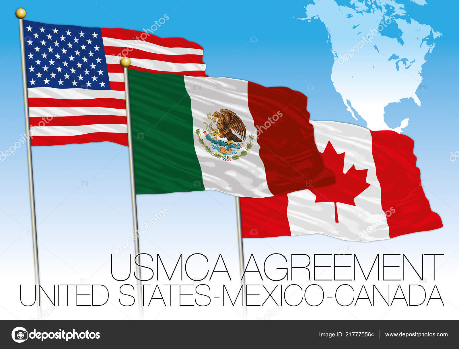 Usmca Agreement 2018 Flags United States Mexico Canada ...