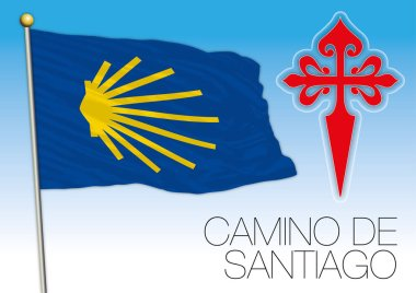 Camino de Santiago, flag and symbols, vector illustrator