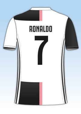 Cristiano Ronaldo Juventus football team jersey, vector illustration