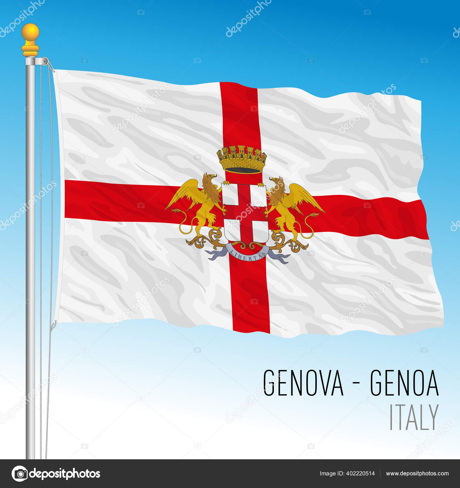 City Genoa Official Flag Liguria Italy Vector Illustration Stock Vector C Frizio 402220514