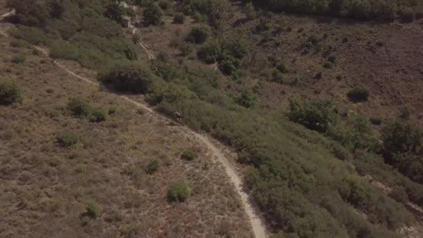 Letecký pohled na cyklista, který rychle jezdí na venkovské cestě na horské kolo