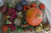 Autumn concept with seasonal fruits and vegetables. Pumpkin, figs, autumn leaves. Thanksgiving Day. Halloween.
