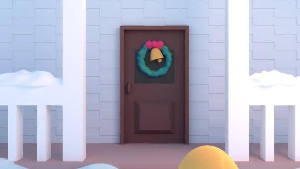 3D kreslená děti budování sněhulák vánoční
