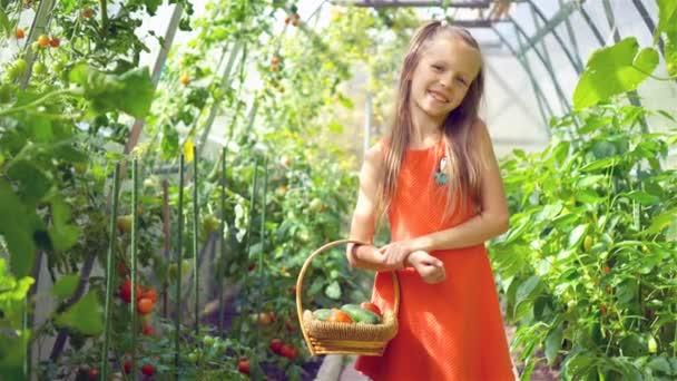 Roztomilá holčička sbírá okurky a rajčata ve skleníku