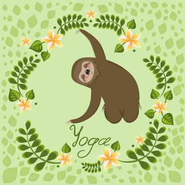 A cute cartoon sloth sitting in a yoga pose. Cartoon animals vector illustration. Unique hand drawn vector illustration with sloth.