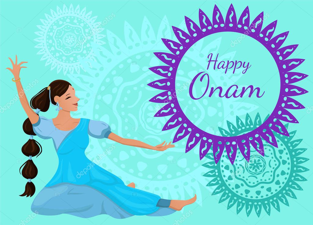 Congratulatory poster or banner with the inscription Happy Onam. A beautiful Indian woman in a dance pose. Vector image. stock vector