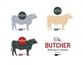 Photo Beef cow bull butcher meat shop logotype or sign. Calf Angus isolated on white background. Cattle logo. Butchery sign. Farm symbol. Poultry. Black and white emblem, symbol, silhouette. Stamp.