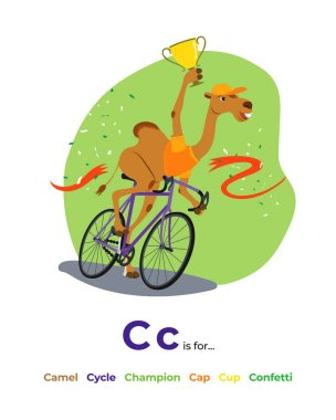English alphabet Colored cartoon with letter C for children, with pictures to these letter with camel, cycle, champion, cap, cup, confetti.