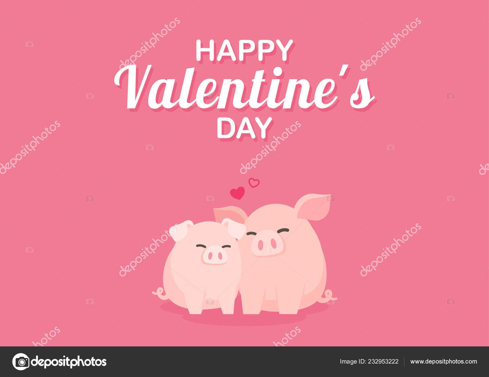 Cartão Dia Dos Namorados Com Casais Porco Fofo Abraçando
