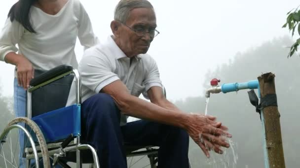 Asiatische Pfleger-Enkelin pflegt ihren im Rollstuhl sitzenden Großvater im Park.