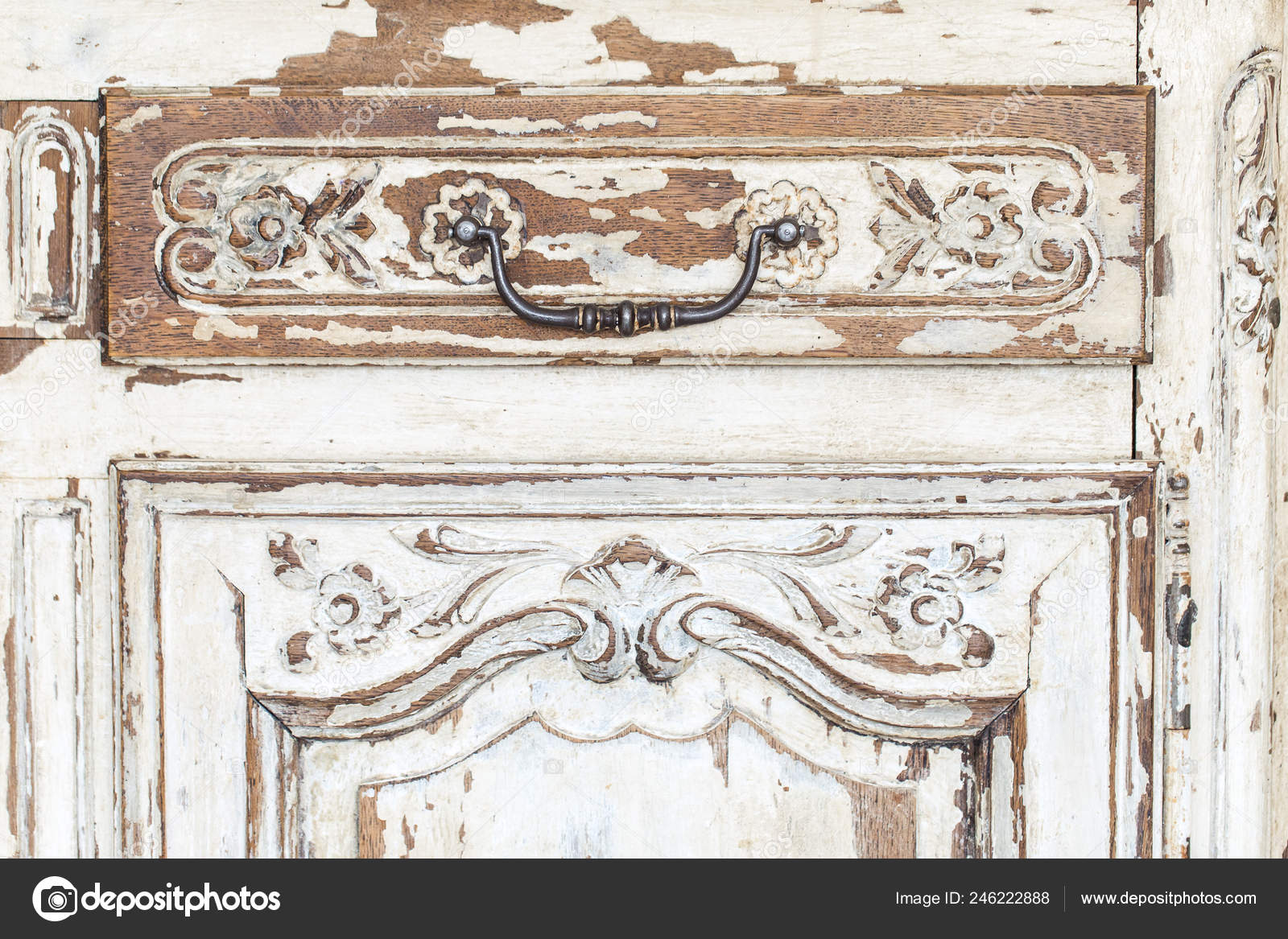 Vintage Chest Of Drawers With Carving White Color With