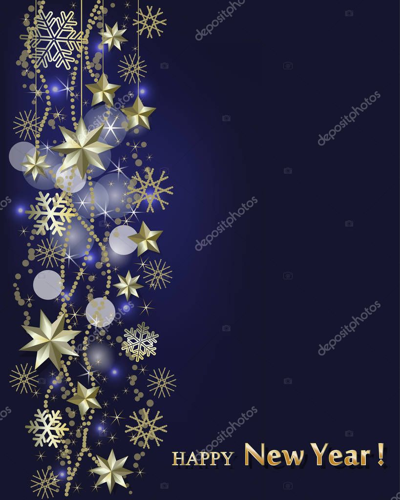 subtle new year card border of golden stars and snowflakes